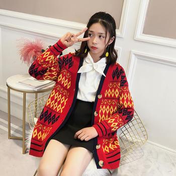 天使格格韩版V领中长款针织外套