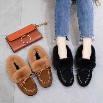 艾微妮新款韩版蝴蝶结毛毛单鞋