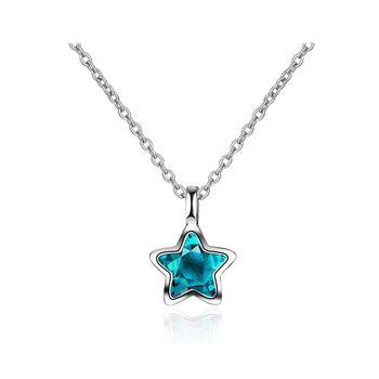 简约五角星  蓝水晶项链
