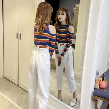 两件套条纹打底上衣+时尚休闲裤