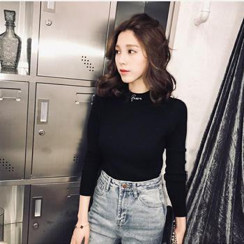 宠客韩版字母半高领毛衣针织衫女