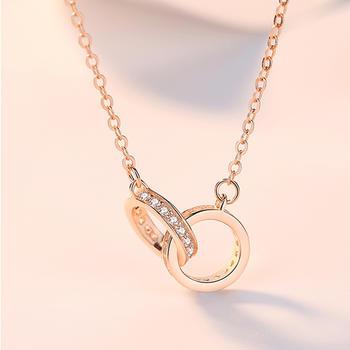 925纯银双环项链双圆圈锁骨链