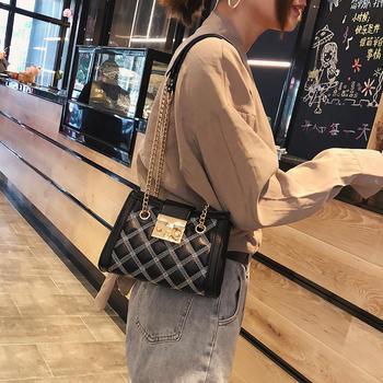 雅涵时尚菱格女包个性锁扣单肩包