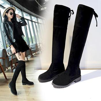 艾微妮韩版新款绒面系带中跟长靴