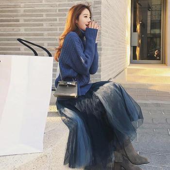 新款针织毛衣配网纱裙时髦两件套