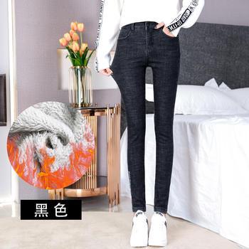 高腰羊羔绒牛仔长裤加绒DX790