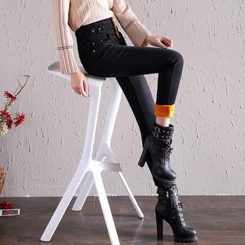 新款冬季加绒牛仔裤女修身DX8835-2