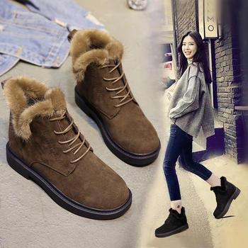 韩版百搭马丁靴女英伦风加绒棉鞋