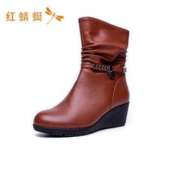红蜻蜓马丁靴 平跟中筒靴C722052
