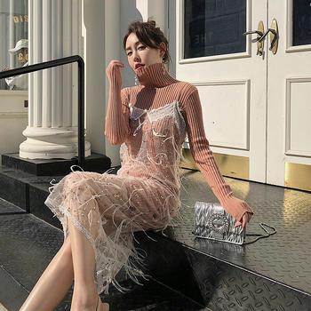 余潇潇亮片网纱吊带连衣裙两件套