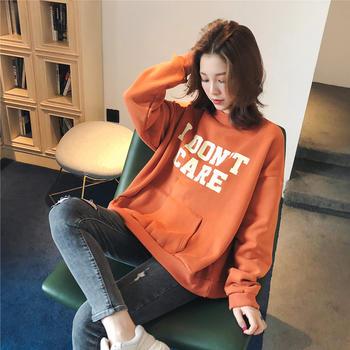 韩版宽松加绒印花字母学生卫衣潮