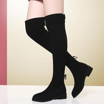 长靴女过膝平底弹力袜加绒长筒靴