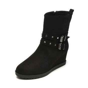 鞋柜复古铆钉坡跟女短靴1115505231
