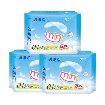 ABC?#24405;?#24863;系列迷你190mm卫生巾