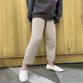 HiDou针织松紧高腰毛线裤
