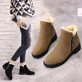 chic马丁靴女2018新款冬季短筒靴子