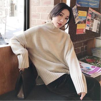 衣织优美 宽松慵懒风高领毛衣