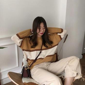 衣织优美 宽松毛衣慵懒风针织衫