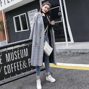 衣织优美 宽松复古流行格子大衣