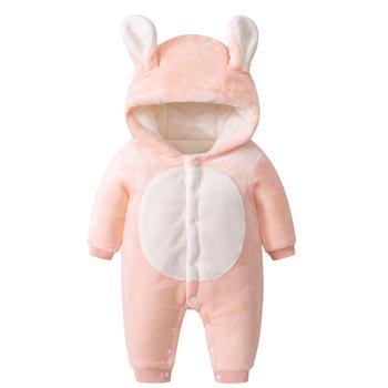 罗町冬款加厚毛毛兔子造型哈衣