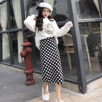 笑脸针织毛衣时尚波点针织半身裙