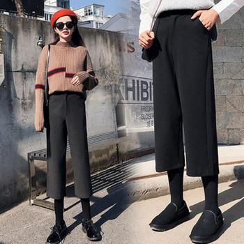 劳保拉秋冬季高腰直筒韩版九分裤