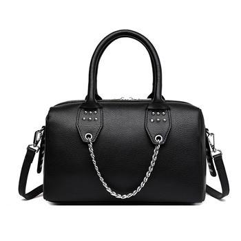 INME时尚链条牛皮波士顿包手提包
