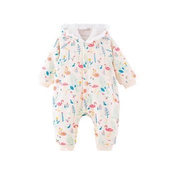 宝然婴儿连身衣服加绒保暖连帽服