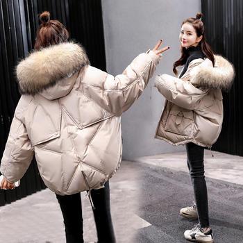 HYLS 冬季新款连帽大毛领面包服棉衣外套