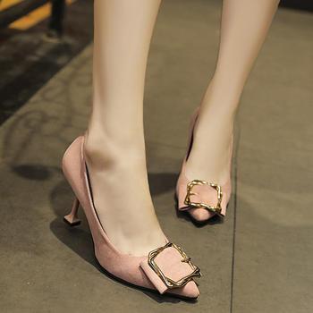 慕沫新款单鞋女细跟尖头高跟鞋子