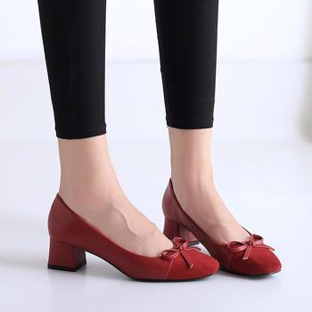 佑黛春秋新款单鞋女?#25351;?#26041;头女鞋