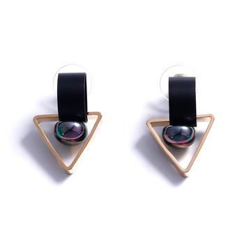Crocus时尚百搭创意个性几何造型镂空设计女士耳钉52220