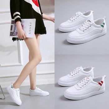 艾微妮韩版学院风系带小白鞋女鞋