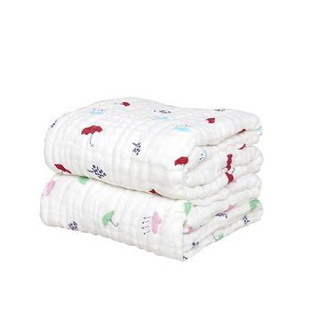 意嬰堡九層加厚印花紗布浴巾