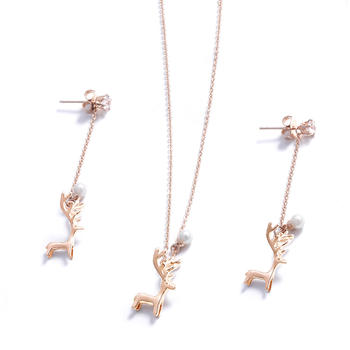 CROCUS一鹿有你小鹿设计项链耳钉套装99996