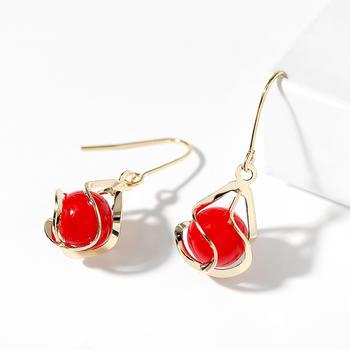 戴拉 925银钩气质红色螺旋耳环