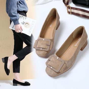 艾微妮韩版浅口金属装饰绒面单鞋