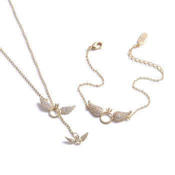 Crocus创意时尚百搭翅膀戒指设计锁骨链手链套装80018
