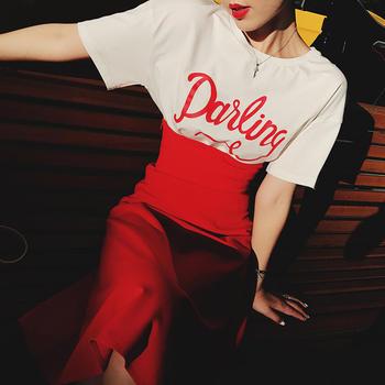 余潇潇短袖T恤雪纺半身裙两件套女2019夏季新款