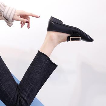奥古女鞋夏季超纤韩版短靴单鞋单鞋时尚圆头工作鞋