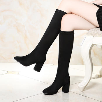 长筒靴高跟冬季新款加绒粗跟女靴