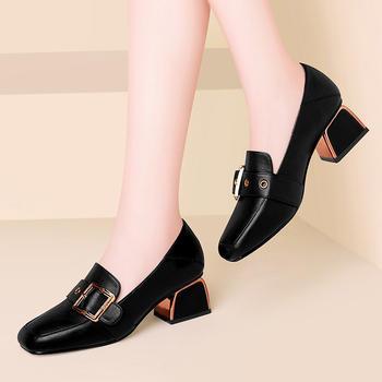 方头粗跟单鞋中跟女鞋子女士皮鞋