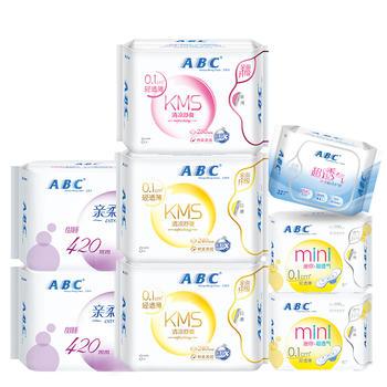 ABC卫生巾套装KMS日4夜3包护垫1包