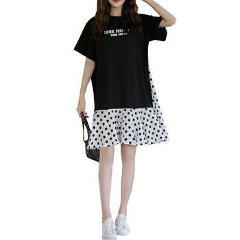 蚕坊俪 韩版时尚中长款波点连衣裙 产后穿着 依旧美丽