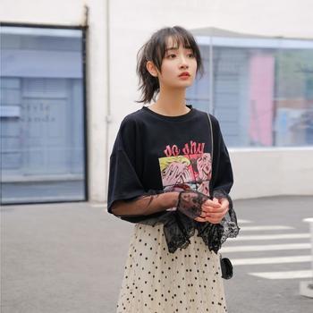2019春新款文艺小清新蕾丝时尚拼接T恤