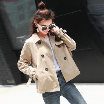 S SKY短款韩版百搭宽松薄外套新款矮小个子风衣女