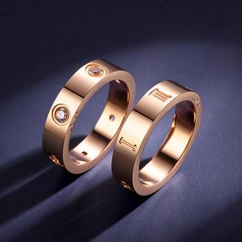 卡洛美 玫瑰金色戒指男女情侶對戒鑲施華洛世奇鋯