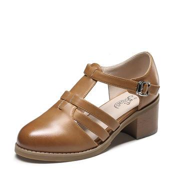 卓诗尼春季新款镂空单鞋女丁?#36136;娇?#24102;?#25351;?#39640;跟女鞋