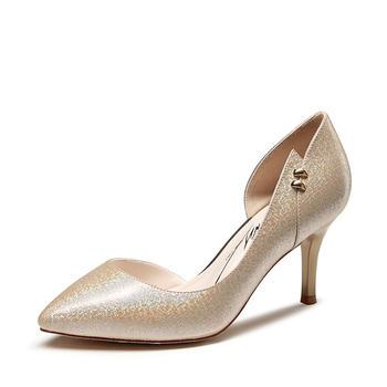 卓诗尼春夏季新款尖头细高跟鞋韩版时尚女士单鞋子