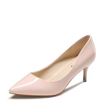 卓诗尼春新品单鞋女漆皮浅口尖头高跟细跟通勤女鞋